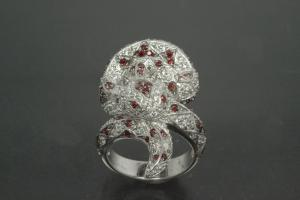 aLEm Ring Mexican King Snake 925/- Silver rhodium plated, with white/red Cubic Zirconia