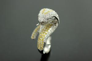 aLEm Ring Cobra of Mystic 925/- Silver rhodium plated, with white/yellow Cubic Zirconia