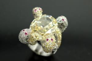 aLEm Ring Snakes of Glory 925/- Silver rhodium plated, with white/yellow/red Cubic Zirconia