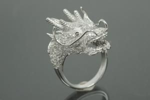 aLEm Ring Dragon of Glory 925/- Silver rhodium plated, with white Cubic Zirconia